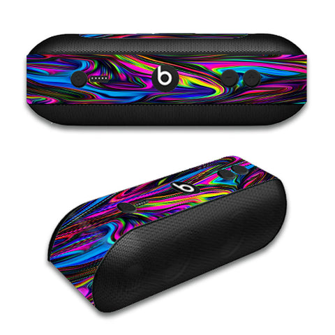 Neon Color Swirl Glass Beats by Dre Pill Plus Skin