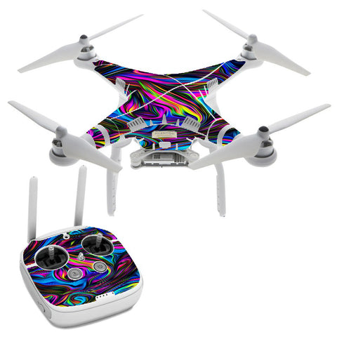 Neon Color Swirl Glass DJI Phantom 3 Professional Skin