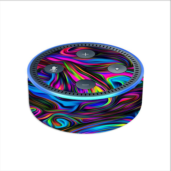 Neon Color Swirl Glass Amazon Echo Dot 2nd Gen Skin