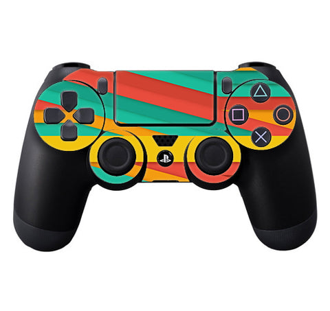 Turquoise Blue Yellow Sony Playstation PS4 Controller Skin