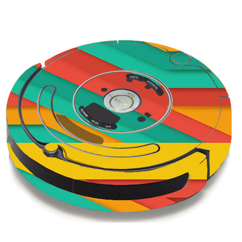 Turquoise Blue Yellow iRobot Roomba 650/655 Skin