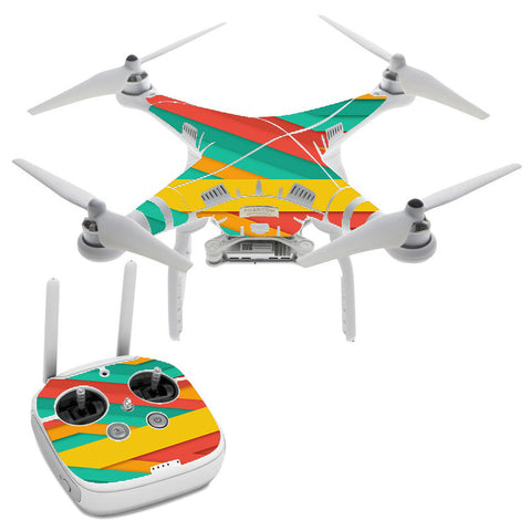 Turquoise Blue Yellow DJI Phantom 3 Professional Skin