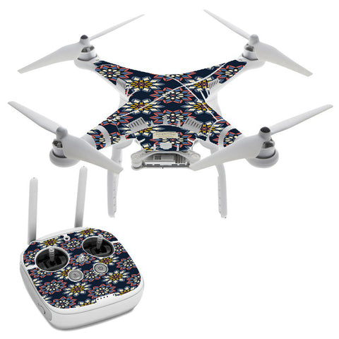 Retro Flowers Pattern DJI Phantom 3 Professional Skin