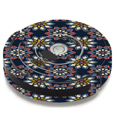 Retro Flowers Pattern iRobot Roomba 650/655 Skin