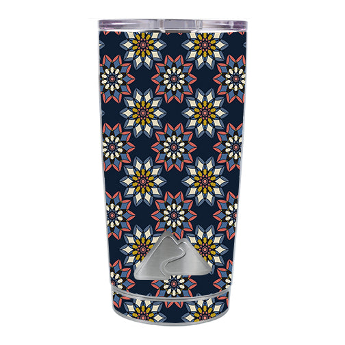 Retro Flowers Pattern Ozark Trail 20oz Tumbler Skin