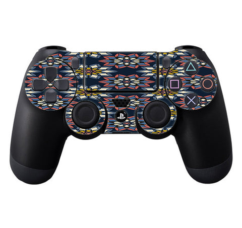 Retro Flowers Pattern Sony Playstation PS4 Controller Skin