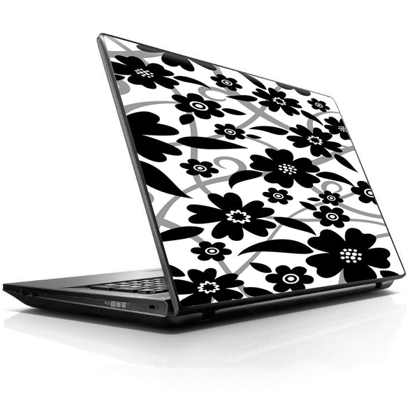 Black White Flower Print Universal 13 to 16 inch wide laptop Skin