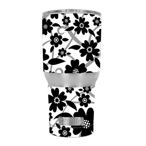Black White Flower Print RTIC 30oz Tumbler Skin