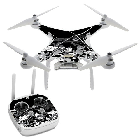 Black Floral Pattern DJI Phantom 3 Professional Skin