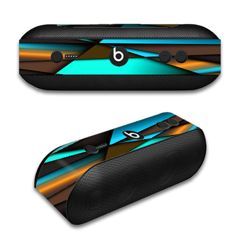 Awesome Blue Gold Pattern Beats by Dre Pill Plus Skin
