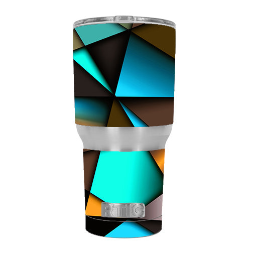 Awesome Blue Gold Pattern RTIC 30oz Tumbler Skin