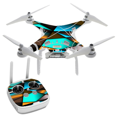 Awesome Blue Gold Pattern DJI Phantom 3 Professional Skin