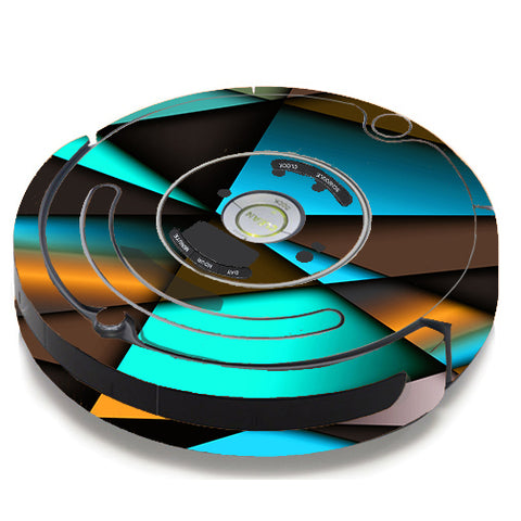 Awesome Blue Gold Pattern iRobot Roomba 650/655 Skin