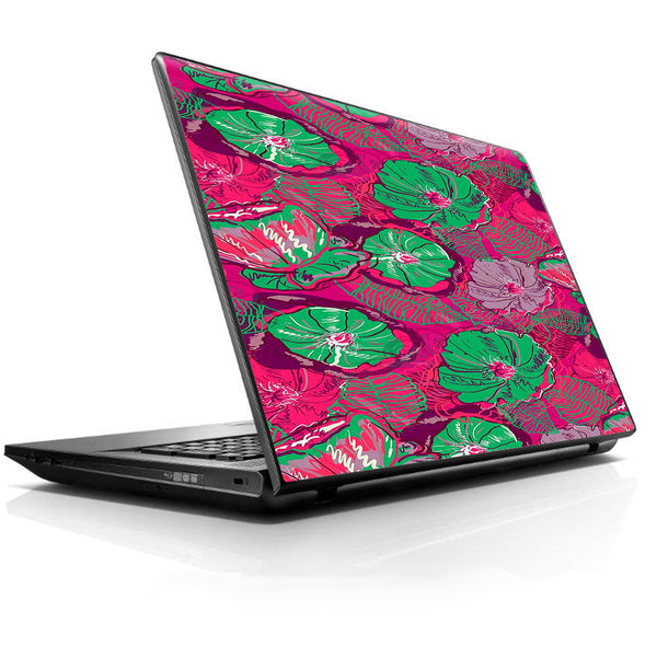 Pink Green Wild Flowers Universal 13 to 16 inch wide laptop Skin