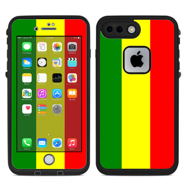 separation shoes 485e1 add26 Rasta Reggae Colors Lifeproof Fre iPhone 7 Plus or iPhone 8 Plus Skin