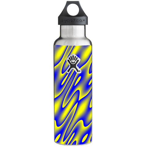 Neon Blue Yellow Trippy Hydroflask 21oz Skin