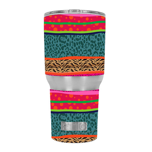 Leopard Zebra Patterns Colorful RTIC 30oz Tumbler Skin