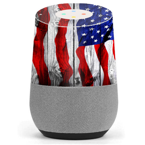 American Flag On Wood Google Home Skin
