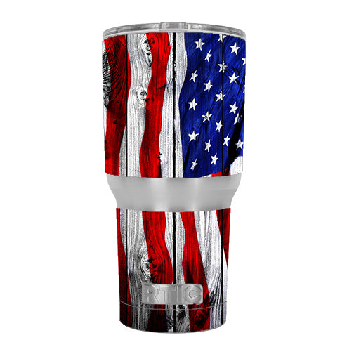 American Flag On Wood RTIC 30oz Tumbler Skin