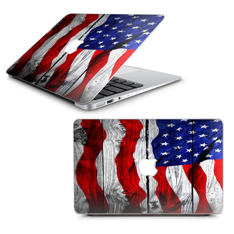 "American Flag On Wood Macbook Air 13"" A1369 A1466 Skin"