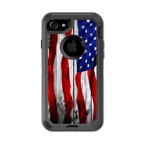 American Flag On Wood Otterbox Defender iPhone 7 or iPhone 8 Skin