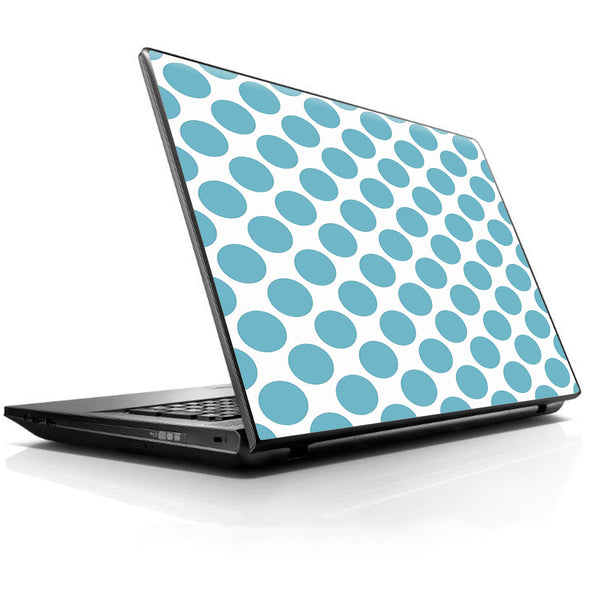 Teal Blue Polka Dots Universal 13 to 16 inch wide laptop Skin