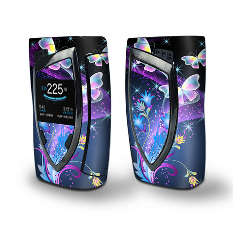 Skin Decal Vinyl Wrap for Smok Devilkin Kit 225w Vape (includes TFV12 Prince Tank Skins) skins cover/ glowing butterflies in flight