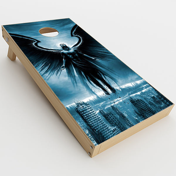 Dark Angel Wings Over City Cornhole Game Boards  Skin