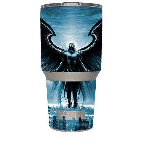 Dark Angel Wings Over City Yeti 30oz Rambler Tumbler Skin