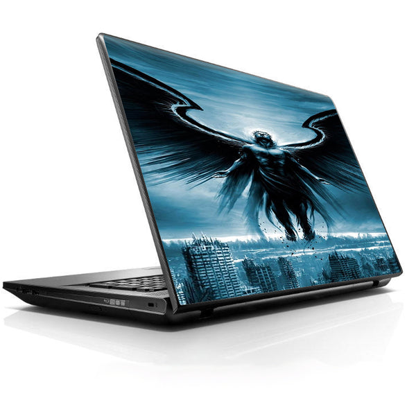 Dark Angel Wings Over City Universal 13 to 16 inch wide laptop Skin