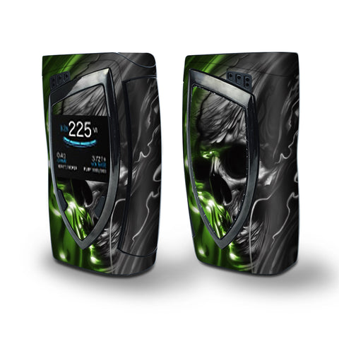 Skin Decal Vinyl Wrap for Smok Devilkin Kit 225w Vape (includes TFV12 Prince Tank Skins) skins cover/ Dark Skull, Skeleton Neon Green