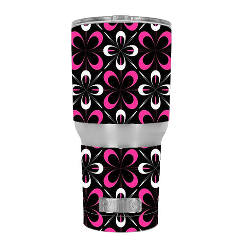 Abstract Pink Black Pattern RTIC 30oz Tumbler Skin