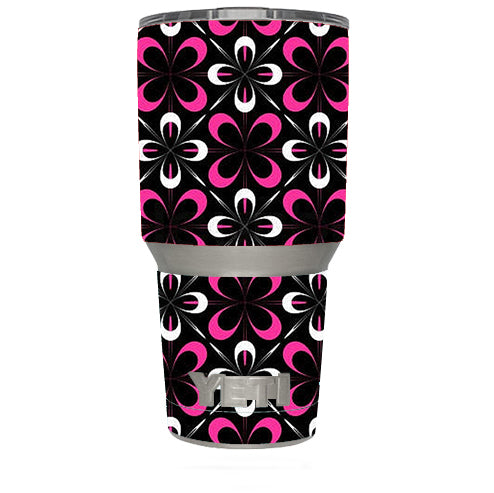 Abstract Pink Black Pattern Yeti 30oz Rambler Tumbler Skin