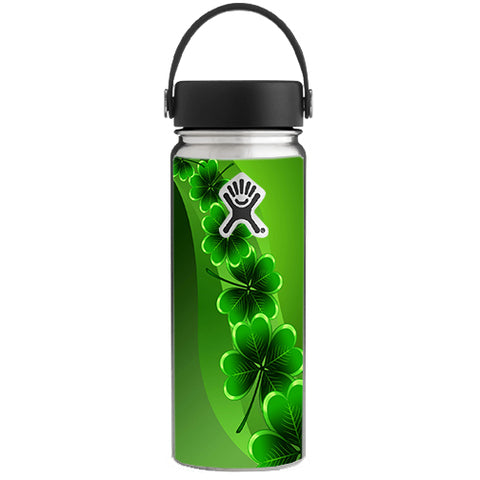 Shamrocks, Glowing Green Hydroflask 18oz Wide Mouth Skin