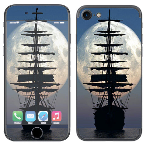 Tall Sailboat, Ship In Full Moon Apple iPhone 7 or iPhone 8 Skin