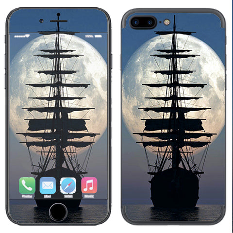 Tall Sailboat, Ship In Full Moon Apple  iPhone 7+ Plus / iPhone 8+ Plus Skin