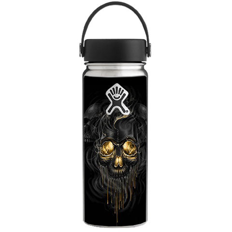 Golden Skull, Glowing Skeleton Hydroflask 18oz Wide Mouth Skin