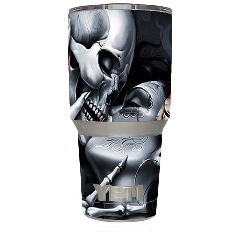 Skeleton Kissing, Day Of The Dead Yeti 30oz Rambler Tumbler Skin