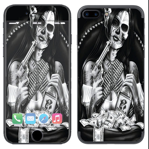 Skull Girl Gangster, Day Of The Dead Apple  iPhone 7+ Plus / iPhone 8+ Plus Skin