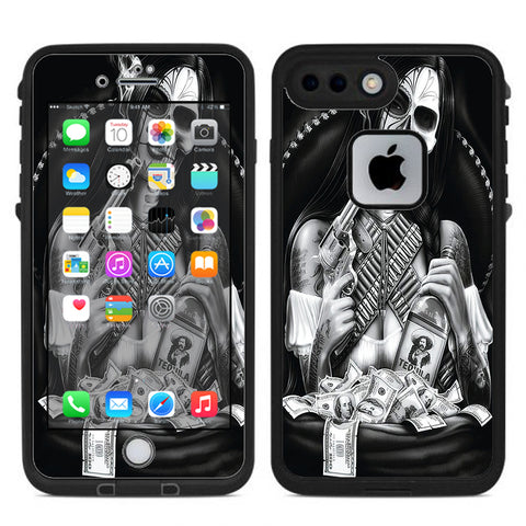 Skull Girl Gangster, Day Of The Dead Lifeproof Fre iPhone 7 Plus or iPhone 8 Plus Skin