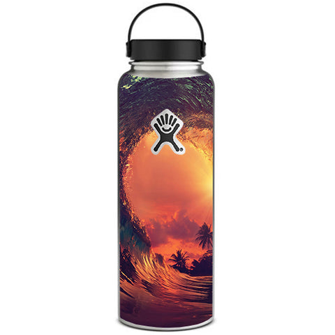 Sunset Through A Tube, Barrel Ride Hydroflask 40oz Wide Mouth Skin