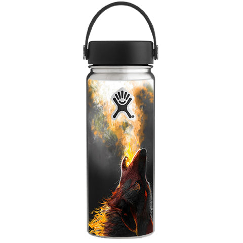 Wolf Howling At Moon Hydroflask 18oz Wide Mouth Skin