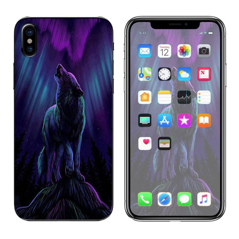Wolf In Glowing Purple Background Apple iPhone X Skin