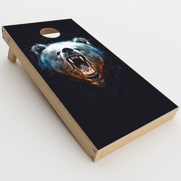 Growling Bear Head Cornhole Game Boards  Skin