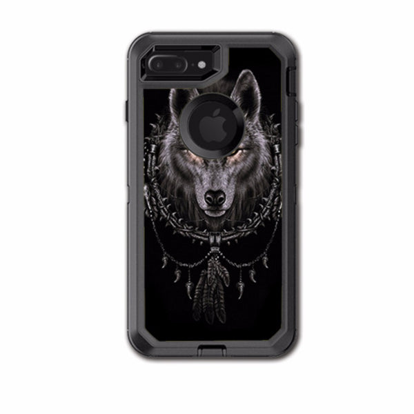 Wolf Dreamcatcher Back White Otterbox Defender iPhone 7+ Plus or iPhone 8+ Plus Skin