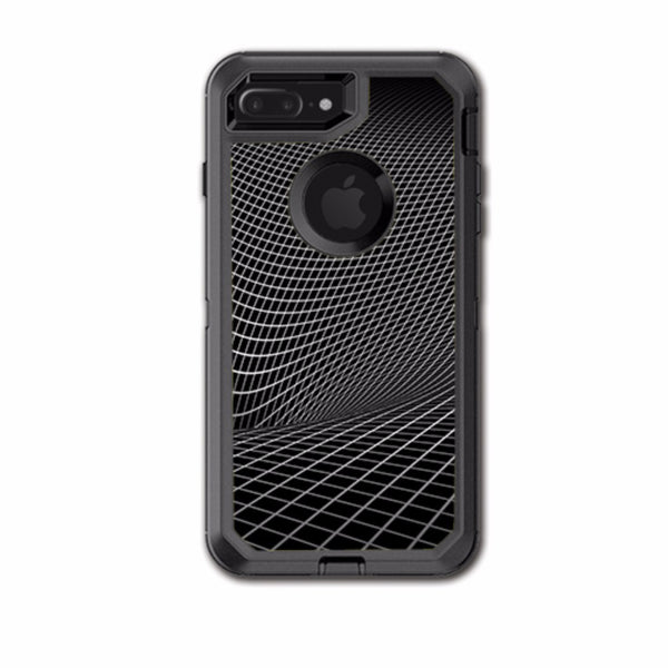 Abstract Lines On Black Otterbox Defender iPhone 7+ Plus or iPhone 8+ Plus Skin