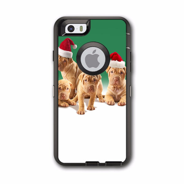Shar-Pei Puppies In Santa Hats Otterbox Defender iPhone 6 Skin