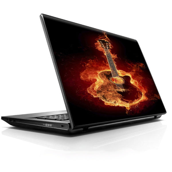 Guitar In Flames Universal 13 to 16 inch wide laptop Skin