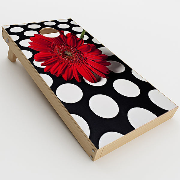 Red Flower On Polka Dots Cornhole Game Boards  Skin