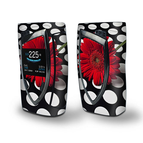 Skin Decal Vinyl Wrap for Smok Devilkin Kit 225w Vape (includes TFV12 Prince Tank Skins) skins cover/ Red Flower on Polka Dots